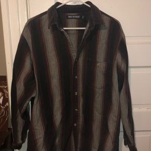Vertical stripe, button down. Thick material